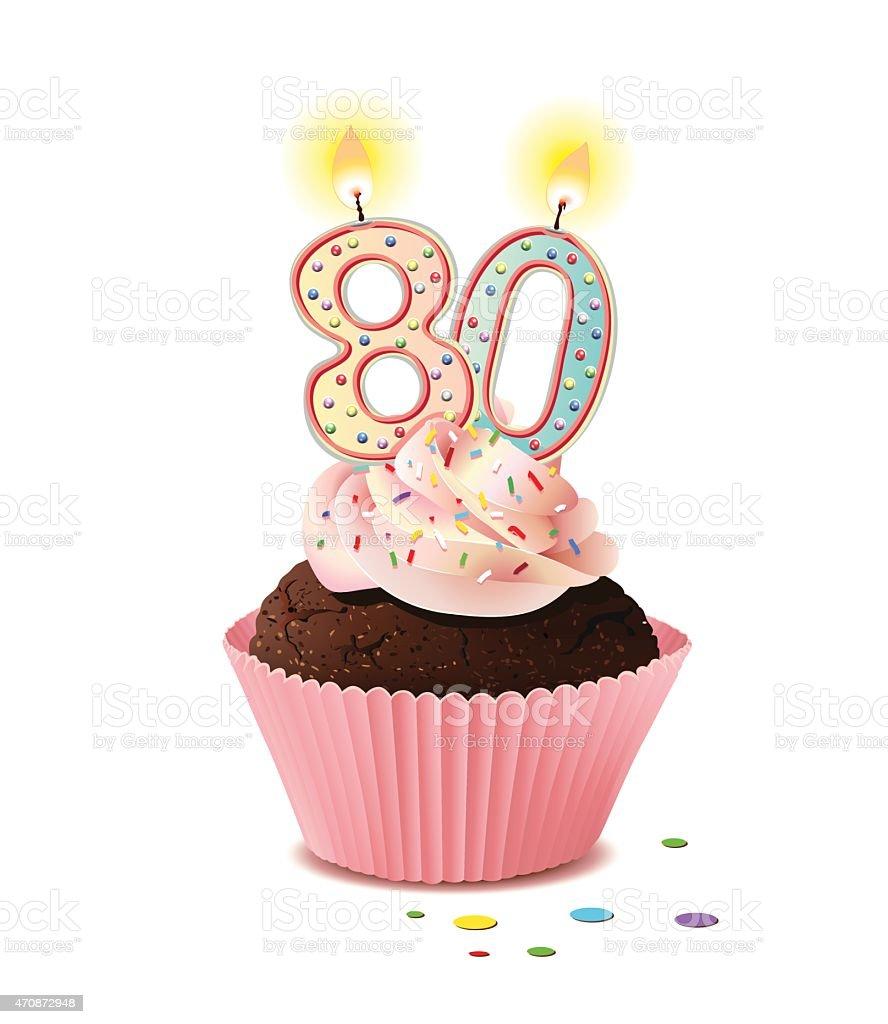 Geburtstag cupcake mit kerze zahl 80 stock vektor art und Dekoration 80 geburtstag