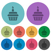 Birthday cupcake with candle olor darker flat icons