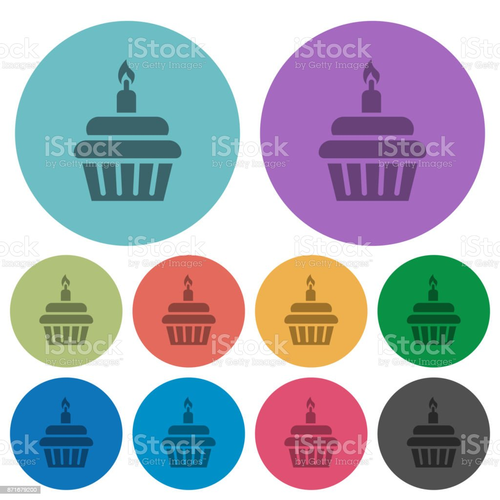 Birthday cupcake with candle olor darker flat icons vector art illustration