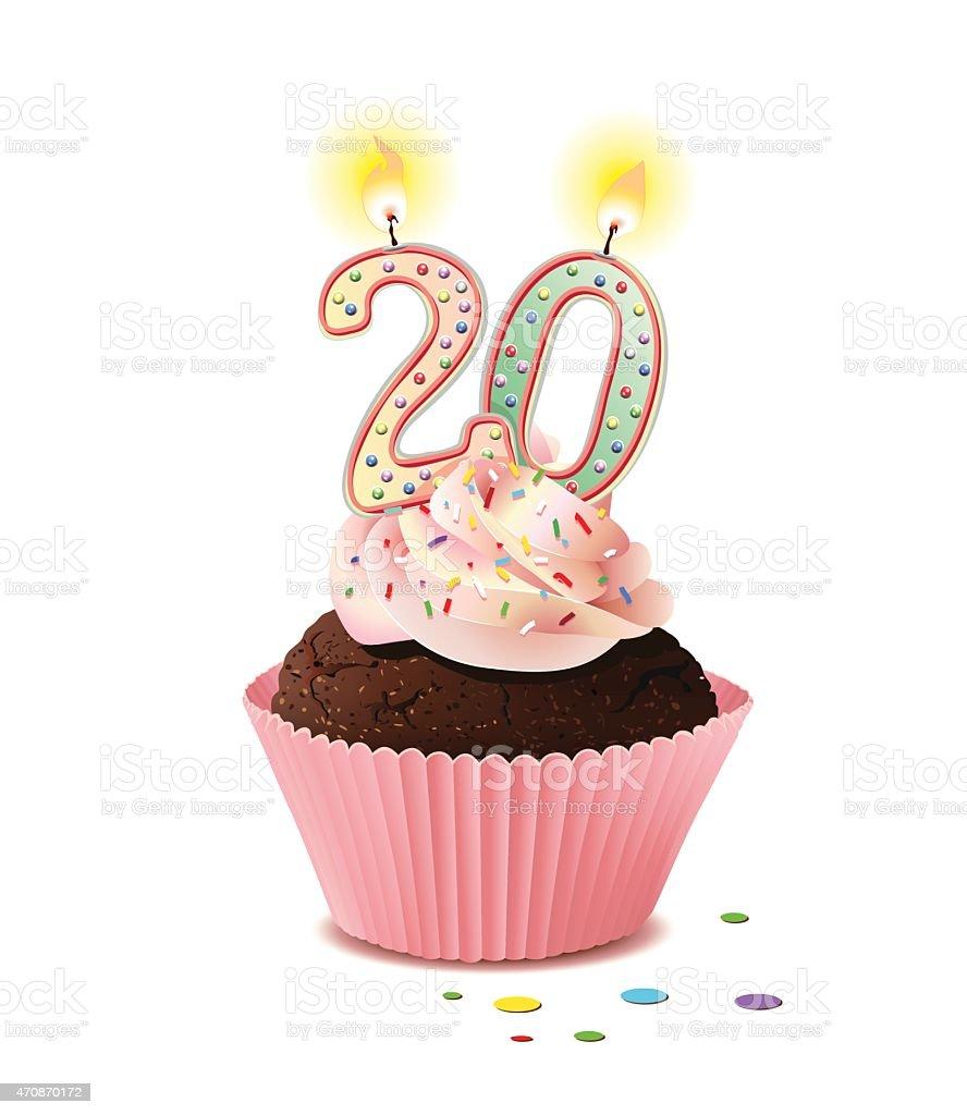 Geburtstag cupcake mit Kerze Zahl 20 – Vektorgrafik
