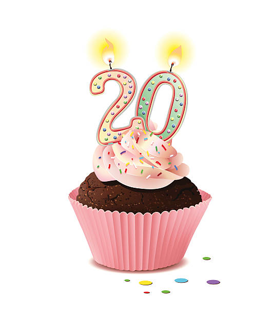 Birthday cupcake with frosting and two candles to form 20 Vector Illustration 20 24 years stock illustrations