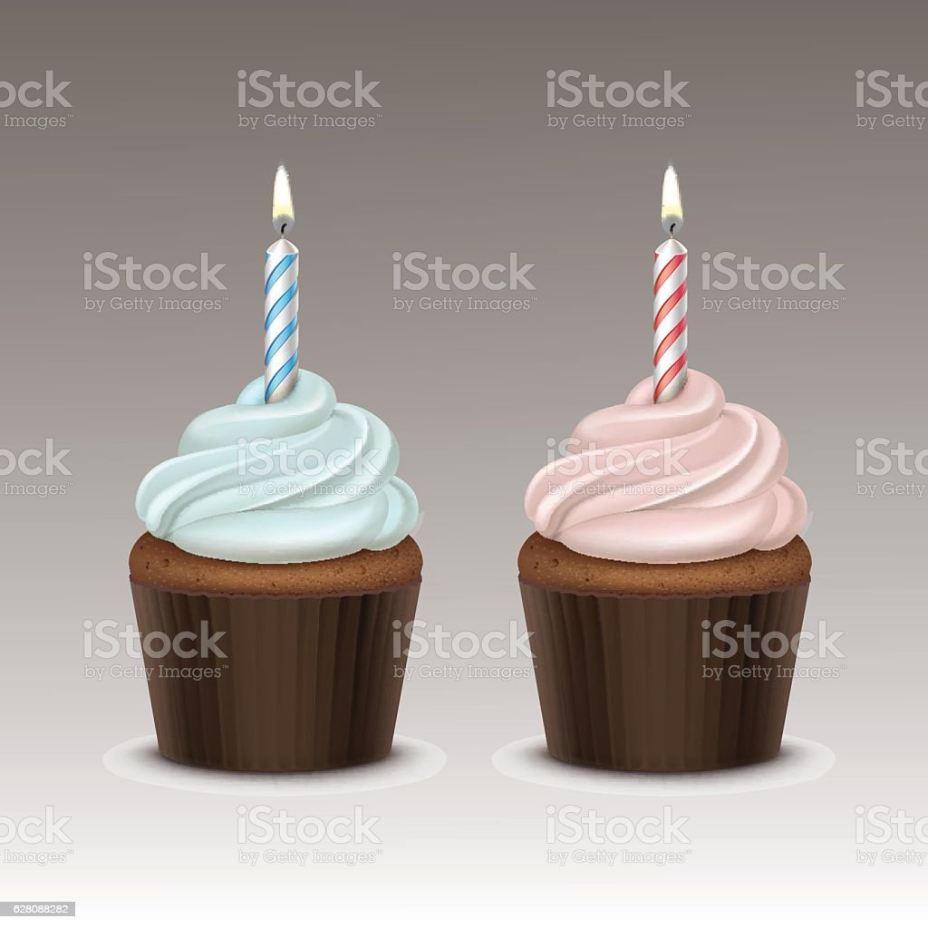 Birthday Cupcake with Whipped Cream and One Candle - Illustration vectorielle