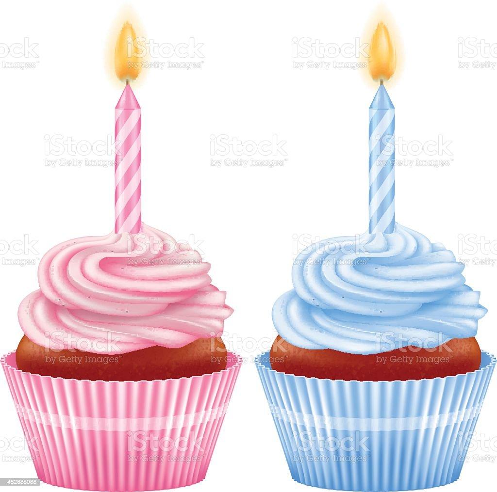 Geburtstag Cupcakes Mit Kerzen Jungen Und Madchenvariationen Stock