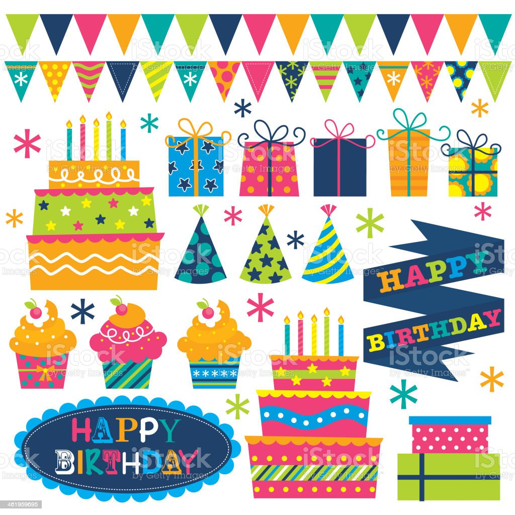 birthday cute stuff vector art illustration