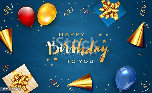 istock Birthday Decorations on Blue Background 1226977677