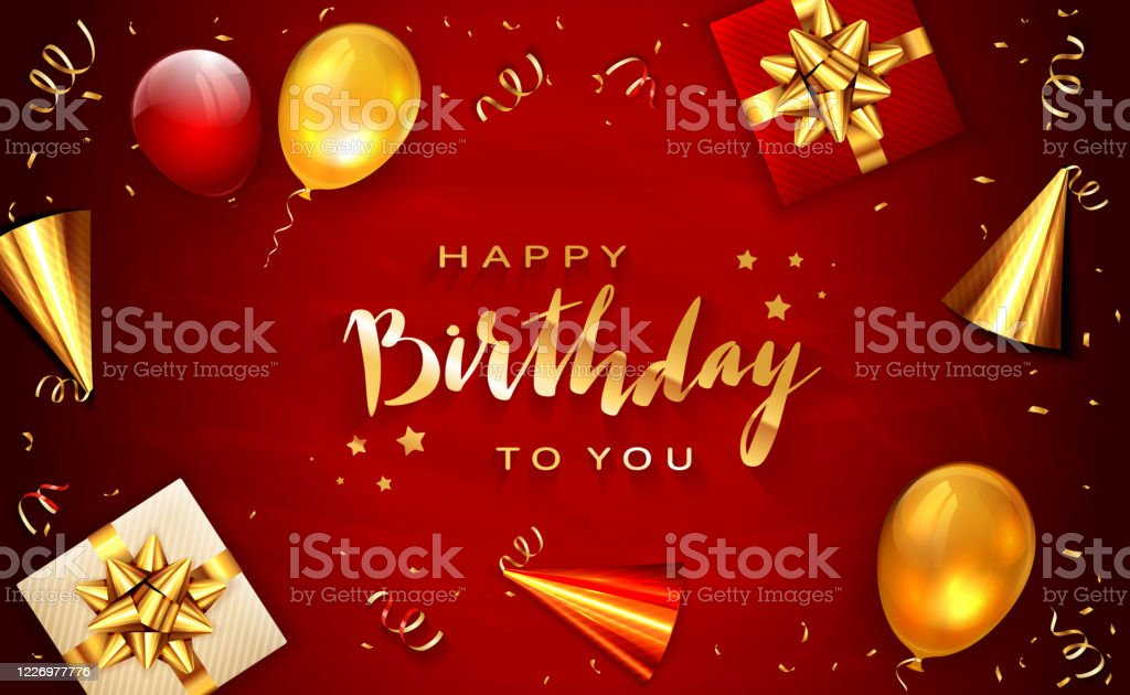 Birthday Decorations On Red Background Stock Illustration Download Image Now Istock