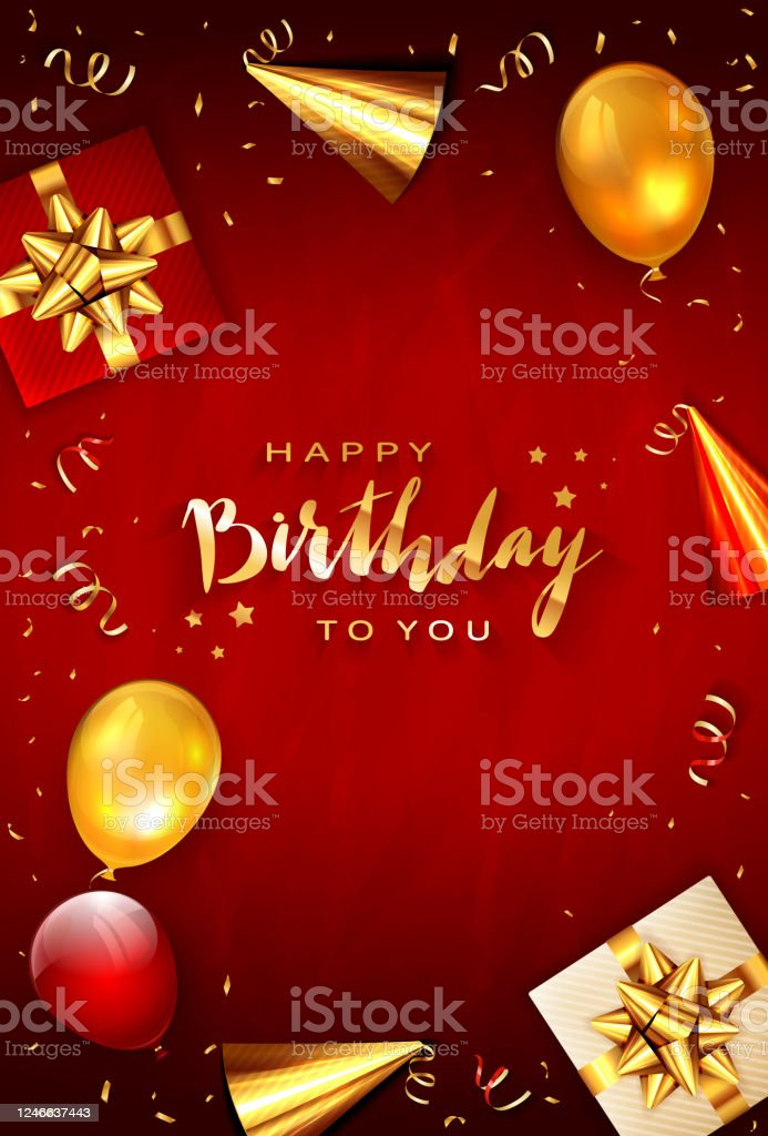Birthday Decorations On Red Background With Balloons Stock Illustration Download Image Now Istock