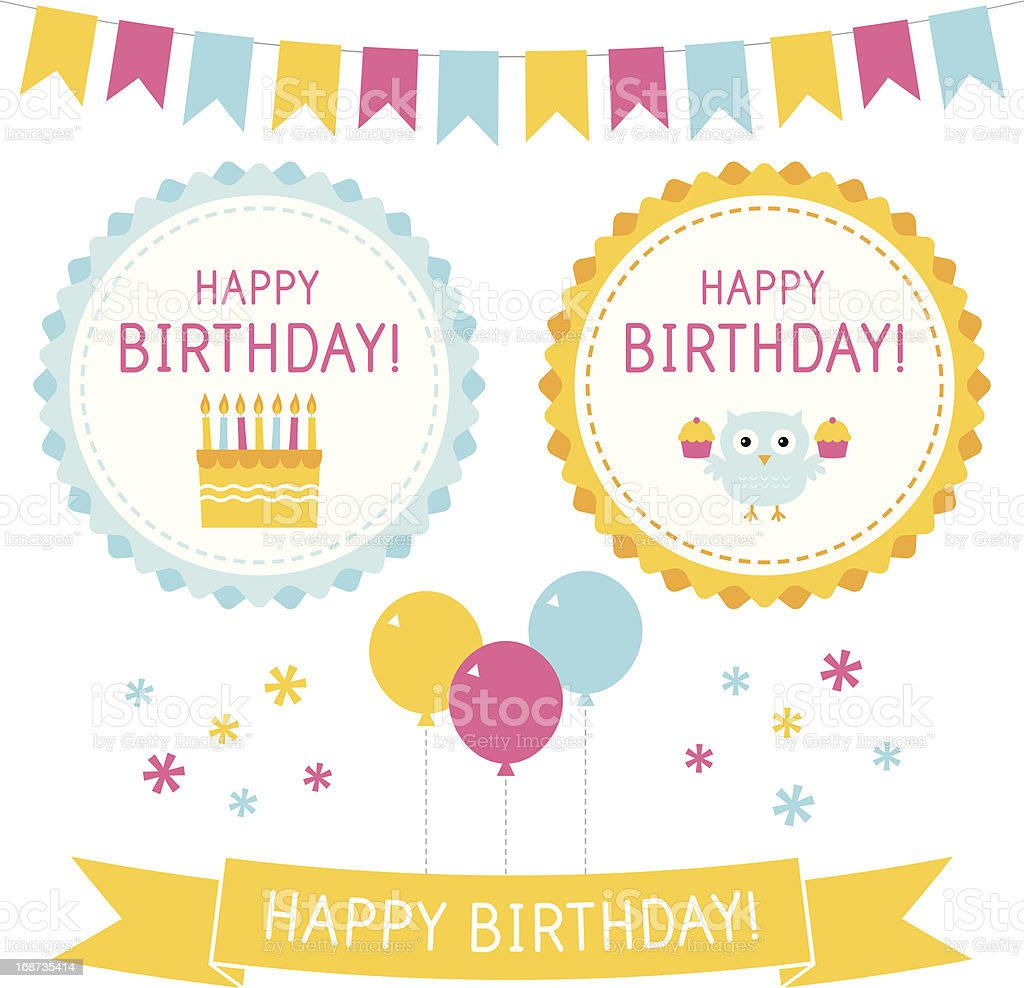 Birthday design elements set vector art illustration
