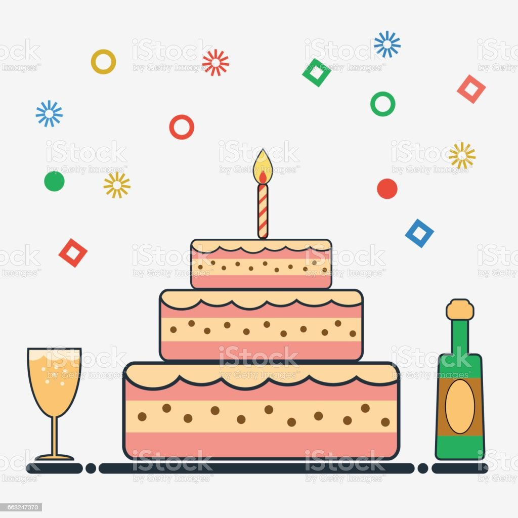 Birthday Design In Flat Style Stock Vector Art More Images Of