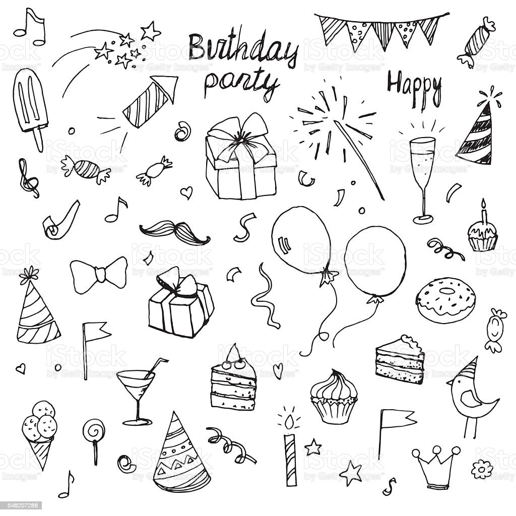 birthday doodle collection drawn hands elements vector art illustration