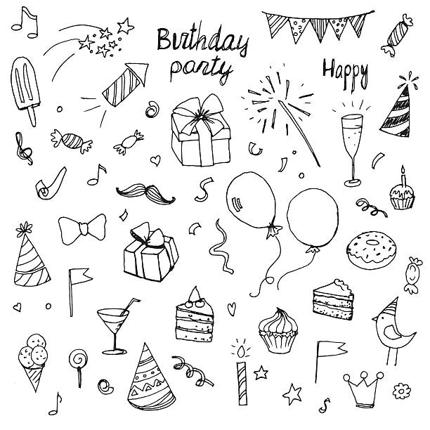 birthday doodle collection drawn hands elements - happy birthday cake stock illustrations, clip art, cartoons, & icons