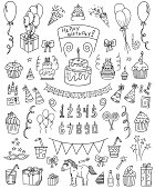 Birthday vector doodle set. All objects are grouped easy to edit.
