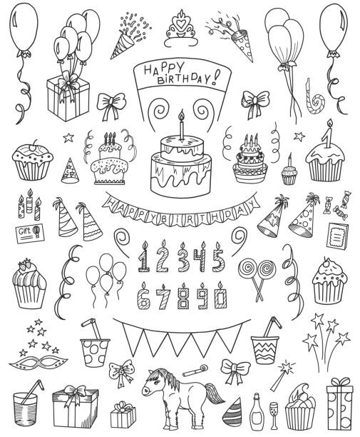 Birthday Doodle Set Birthday vector doodle set. All objects are grouped easy to edit. cake drawings stock illustrations
