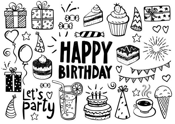 Birthday Doodles and Sketches Collection of birthday doodles, sketches - can be used as invitation card or decoration material for birthday parties and celebrations birthday icons stock illustrations