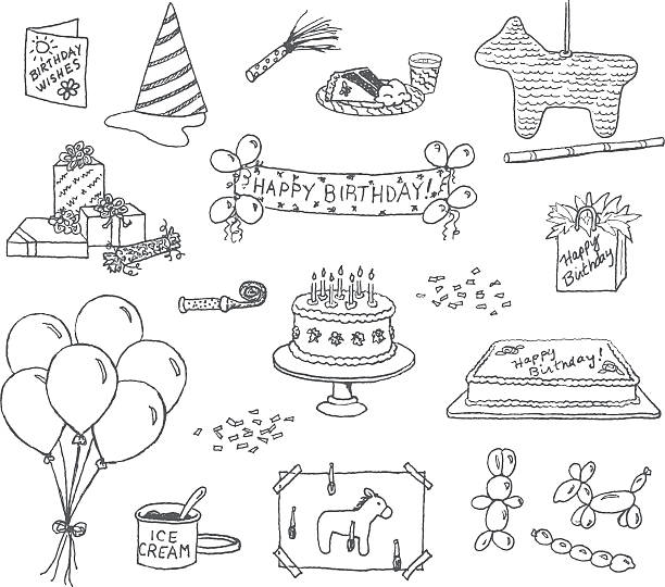 Birthday Doodles  cake drawings stock illustrations