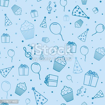 istock Birthday elements in blue color. Gift, cupcake, balloon, cap and musical notes on a blue background. 1226271632