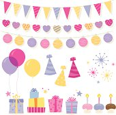 Set of birthday design elements. EPS 10 file, some transparencies used.