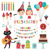 Birthday elements collection with kids and balloons