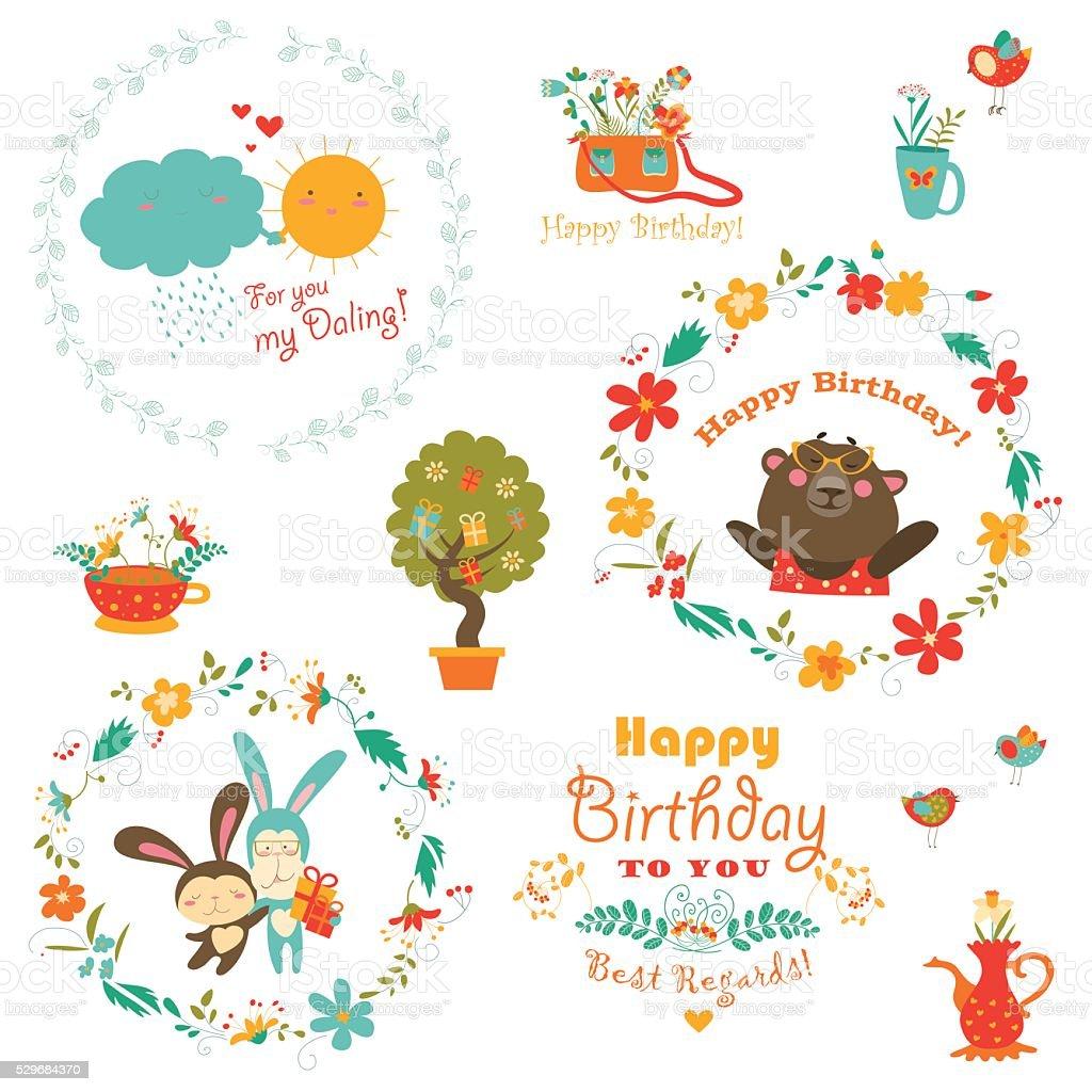 誕生日 の要素とかわいい動物とのリース のイラスト素材 529684370