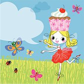 Fairy with a Cupcake and Butterflies on a Summer Meadow.