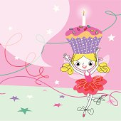 Fairy and Birthday Cupcake with Candle.