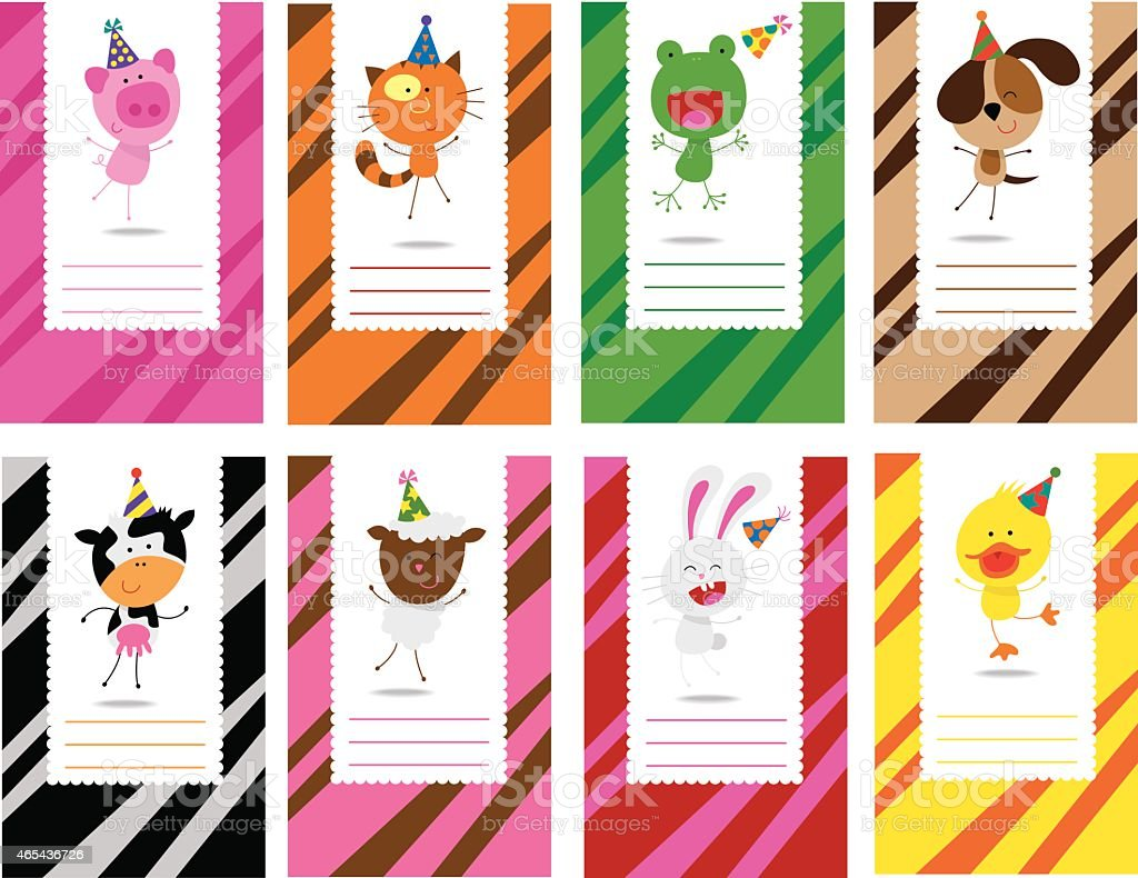 Birthday Farm Animals Cards Stock Vector Art & More Images