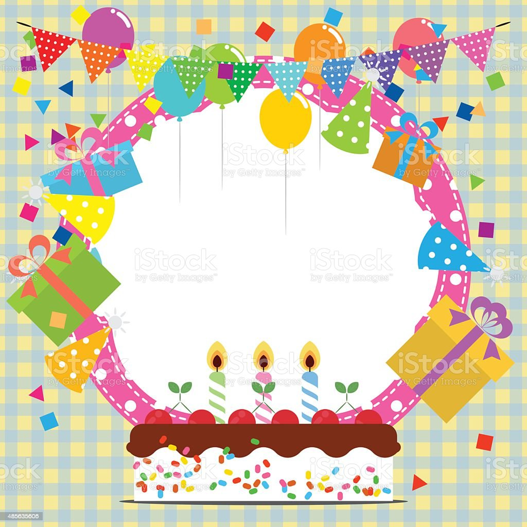 Birthday Frame With Ballooncake And Party Hat Stock Vector Art