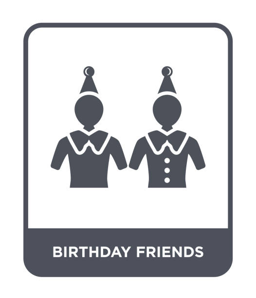 anniversaire amis icône vectorielle sur fond blanc, amis anniversaire branché rempli icônes de Party collection - Illustration vectorielle