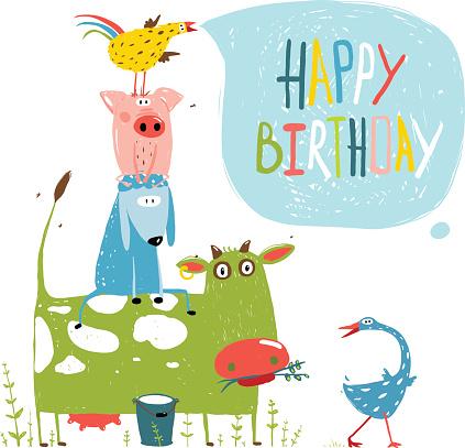 Birthday Fun Cartoon Farm Animals Pyramid Greeting Card