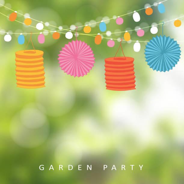 ilustrações, clipart, desenhos animados e ícones de jardim de aniversário festa brasileira junho de festa, luz, lanternas de papel - festa no jardim