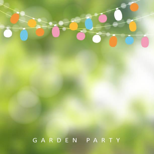 ilustrações, clipart, desenhos animados e ícones de jardim de aniversário festa ou festa brasileira de junho, fundo desfocado - festa no jardim