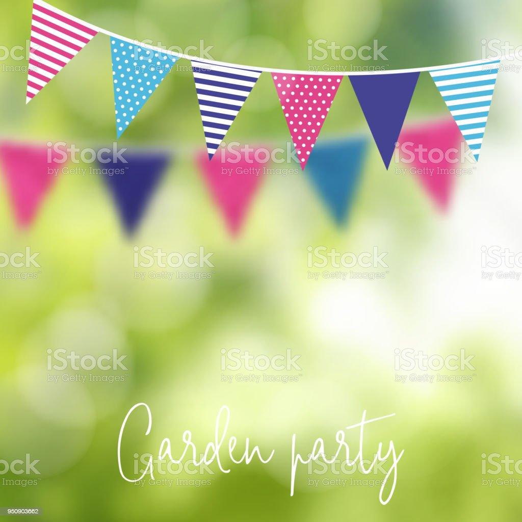 Fête d'anniversaire jardin ou juin brésilien parti, illustration vectorielle avec guirlande de drapeaux du parti et l'arrière-plan flou - Illustration vectorielle