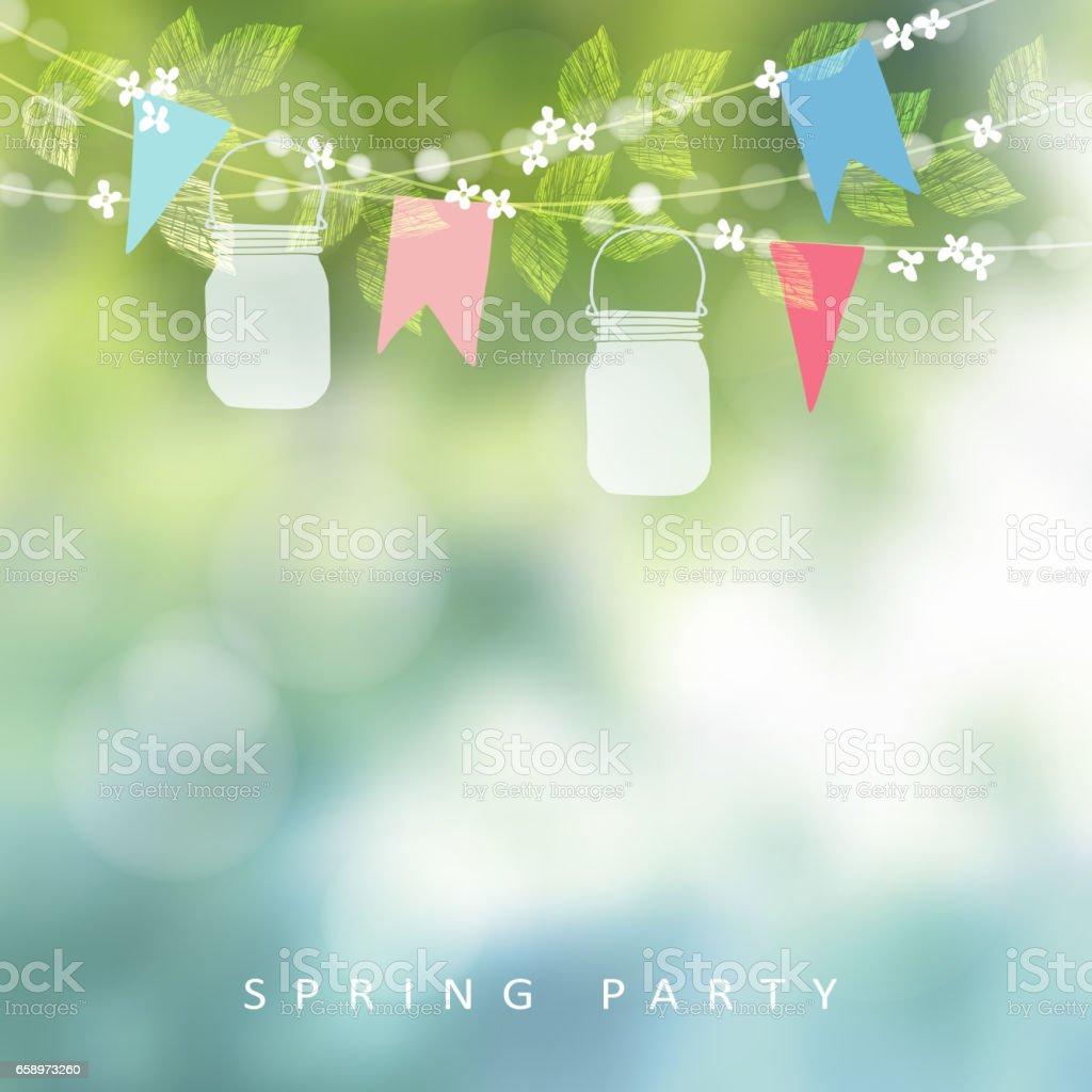 Birthday garden party or festa junina greeting card, invitation. String of lights, paper flags and mason jar lanterns. Blurred vector background, banner.