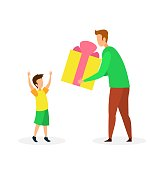 Birthday Gift to Son Flat Vector Illustration