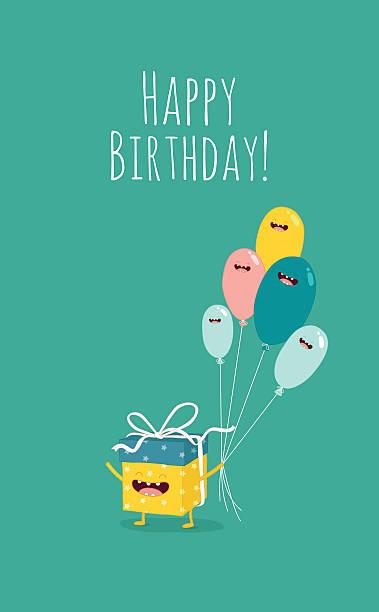 illustrations, cliparts, dessins animés et icônes de cadeau d'anniversaire - ballon anniversaire smiley