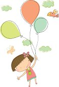 Hand drawn style little girl holding balloons in the sky. Zip contains AI and PDF.