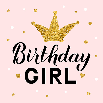 Birthday girl lettering on pink background with gold glitter crown and dots confetti. Birthday celebration poster. Easy to edit vector template for greeting card, banner, flyer, sticker, t-shirt.
