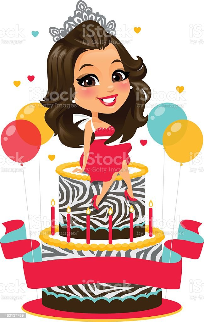Birthday Girl A cute girl sitting on her birthday Cake. The file is an EPS 10 because the balloons and balloon highlights use transparencies.  Adult stock vector