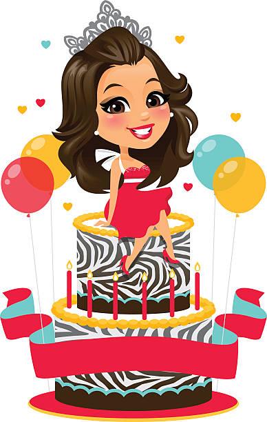 birthday girl - heyheydesigns stock illustrations