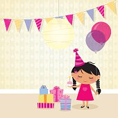 Little girl celebrating her birthday. EPS 10 file, some transparencies used.