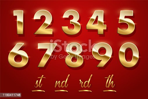 Birthday golden numbers and ending of the words isolated on red background. Vector design elements