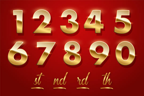 Birthday golden numbers and ending of the words isolated on red background. Vector design elements. Birthday golden numbers and ending of the words isolated on red background. Vector design elements number stock illustrations