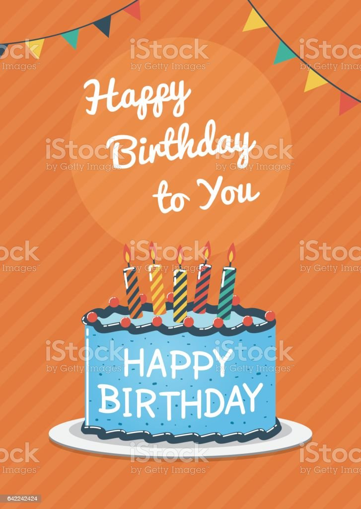 Birthday Greeting And Invitation Card With Blue Birthday Cake