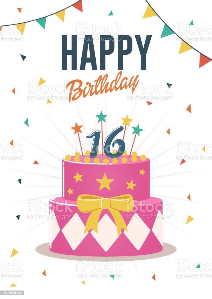 Birthday greeting and invitation card with sweet 16 birthday cake illustration vector art illustration