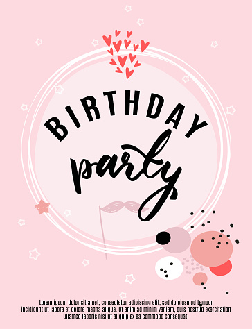 Birthday greeting card and party invitation template, vector illustration, hand drawn style.