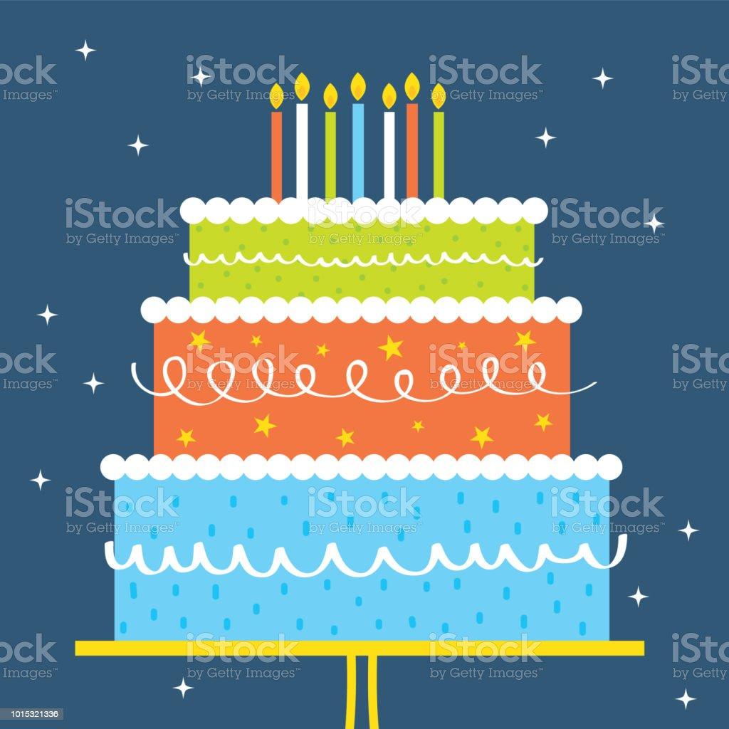 birthday greeting card design wit colorful birthday cake - Grafika wektorowa royalty-free (Ciasto)