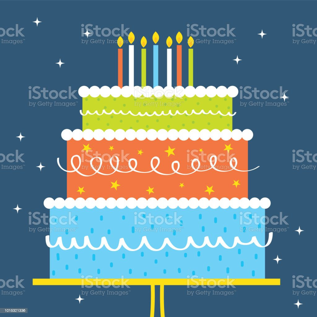 birthday greeting card design wit colorful birthday cake vector art illustration