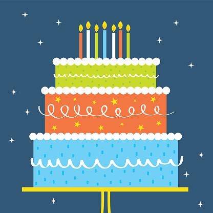 Birthday Greeting Card Design Wit Colorful Birthday Cake - Stockowe grafiki wektorowe i więcej obrazów Ciasto