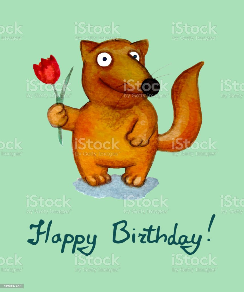 Birthday greeting card. Fox character royalty-free birthday greeting card fox character stock vector art & more images of animal