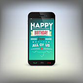 Birthday greeting card on screen of mobile phone